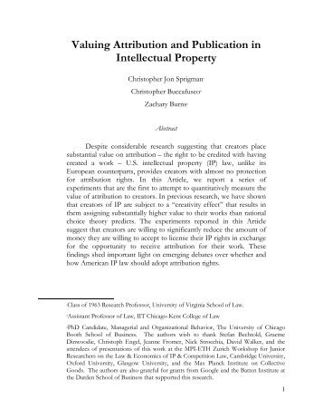 Valuing Attribution and Publication in Intellectual Property