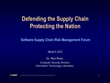Defending the Supply Chain Protecting the Nation - Build Security In