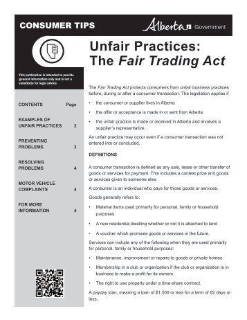 Tip Sheet: Unfair Practices - the Fair Trading Act - Service Alberta