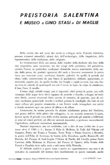 PREISTORIA SALENTINA - culturaservizi.it