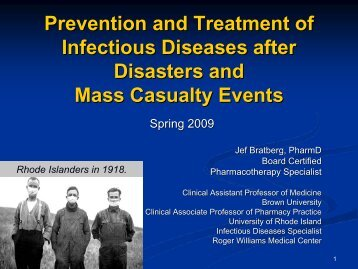 Prevention and Treatment of Infectious Diseases in Disasters and ...