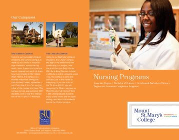 Our Nursing Programs - Mount St. Mary's College