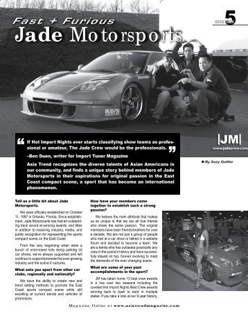 Fast + Furious... Jade Motorsports - Asia Trend Magazine