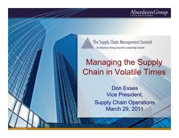 Managing the Supply Chain in Volatile Times - Summit