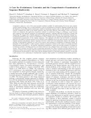 A Case for Evolutionary Genomics and the Comprehensive ...
