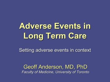 Adverse Events in Long Term Care - ISMP Canada
