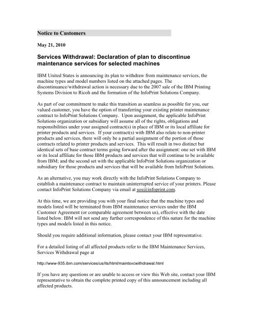 Notice To Customers Services Withdrawal Declaration Of Plan