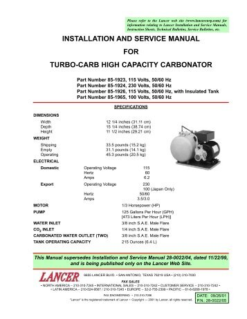 Installation and service manual for lancer kool link partstown installation and service manual for turbo carb high partstown publicscrutiny Choice Image