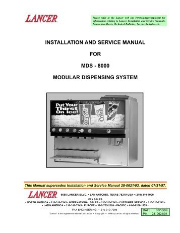 Installation and service manual for lancer kool link partstown installation and service manual for mds 8000 partstown publicscrutiny Image collections