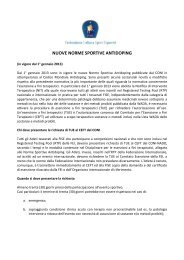 NUOVE NORME SPORTIVE ANTIDOPING