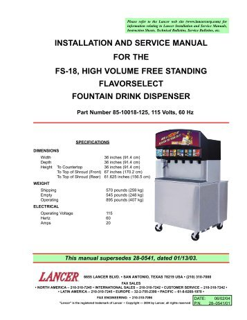 Installation and service manual for lancer kool link partstown installation and service manual for the fs 18 high partstown publicscrutiny Image collections