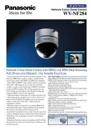 Network Colour Dome Camera WV-NF284