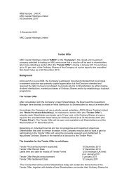 ARCH Tender Offer - ARC Capital Holdings Ltd