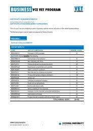 Program Summary - TLS - Victoria University