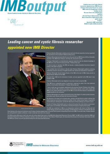 Leading cancer and cystic fibrosis researcher appointed new IMB ...