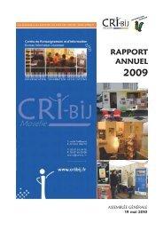 RAPPORT ANNUEL - CRI-Bij