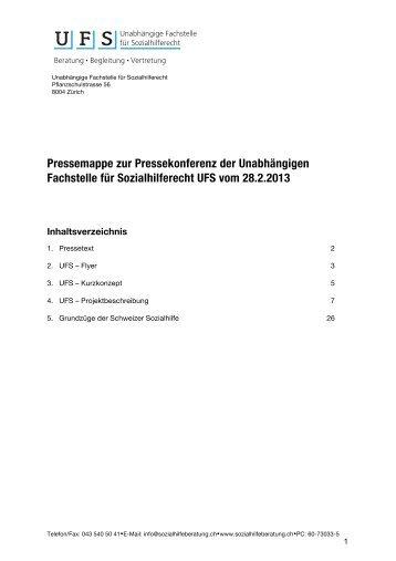 Pressemappe - Die Unabhängige Fachstelle für Sozialhilferecht