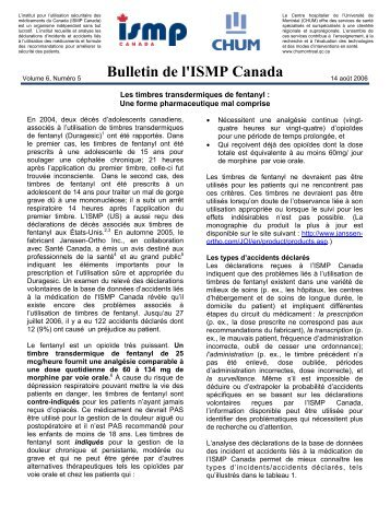 Les timbres transdermiques de fentanyl - ISMP Canada