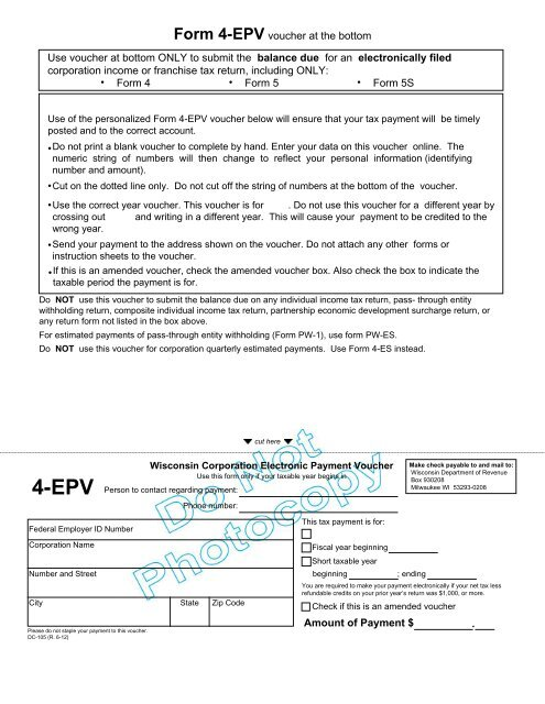 2012 4 EPV Voucher And Specifications Wisconsin Department