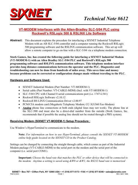 Allen-Bradley SLC-5/04 PLC - Sixnet