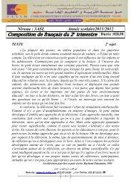 Examen Français Sujet N°2 - Groupement Scolaire Salim