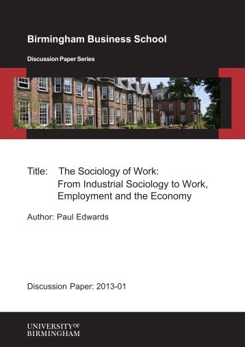 The Sociology of Work - University of Birmingham