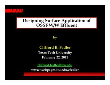 Designing Surface Application of OSSF W/W Effluent - Clifford B ...