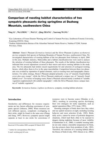 Comparison of roosting habitat characteristics of two sympatric ...