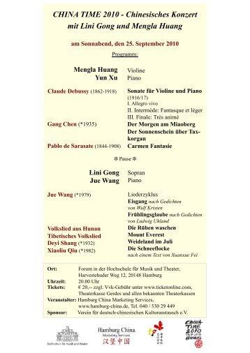 CHINA TIME 2010 - Chinesisches Konzert mit Lini Gong und ...