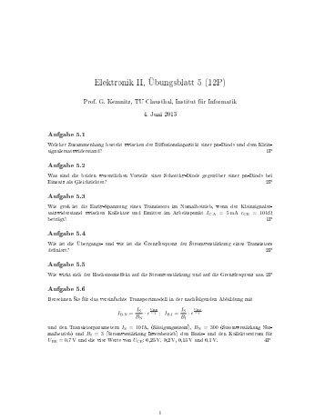 Elektronik II, Übungsblatt 5 (12P) - TU Clausthal