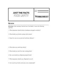 JUST THE FACTS FOOD SAFETY Worksheet - Learning Zone Express