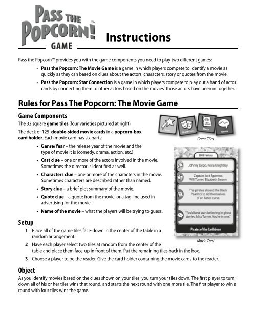 Rules for Pass The Popcorn - Marbles: The Brain Store