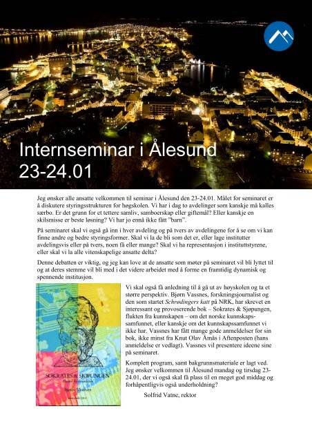 Internseminar i Ålesund 23-24.01 - RFID ved Høgskolen i Molde