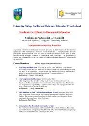 Graduate Certificate in Holocaust Education