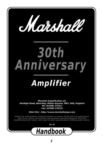 30th Anniversary Amplifier Handbook - Marshall