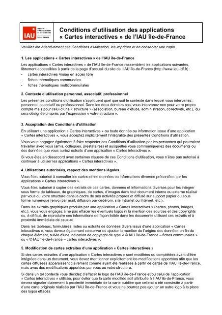 Carte Accord Utilisation.Conditions D Utilisation Des Cartes Interactives