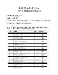 Notice and List of Eligible applicants for appearing ... - Visva-Bharati
