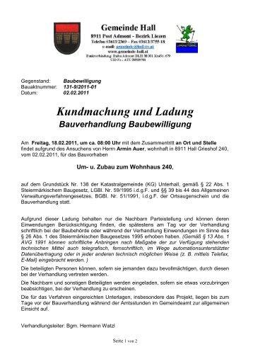 Bauverhandlung --> Armin Auer - Gemeinde Hall