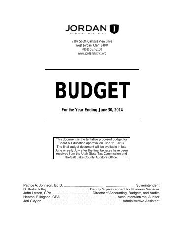 i. executive summary of the 2013-14 budget - Jordan School District