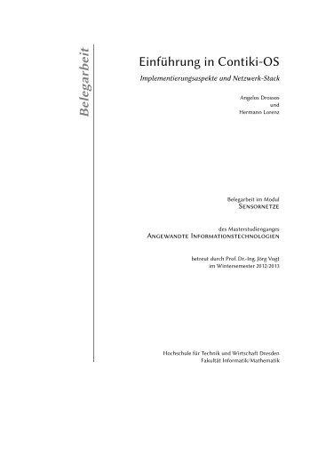 Belegarb eit Einführung in Contiki-OS - Hochschule für Technik und ...