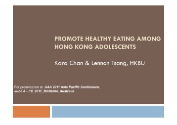 PROMOTE HEALTHY EATING AMONG HONG KONG ...