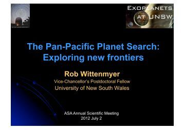 The Pan-Pacific Planet Search - (ASA) Annual Scientific Meeting