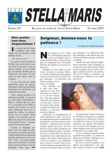 Stella Maris n° 37 : Bulletin de l'école Sainte-Marie - La Porte Latine