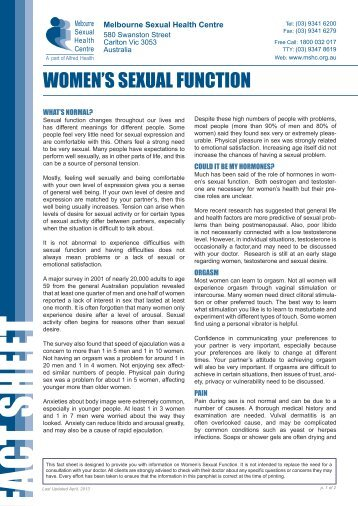 WOMEN'S SEXUAL FUNCTION - Melbourne Sexual Health Centre