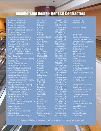 Membership Roster- General Contractors - Builders Association