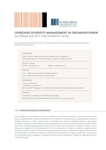 LEHRGANG DIVERSITY MANAGEMENT IN ORGANISATIONEN ...