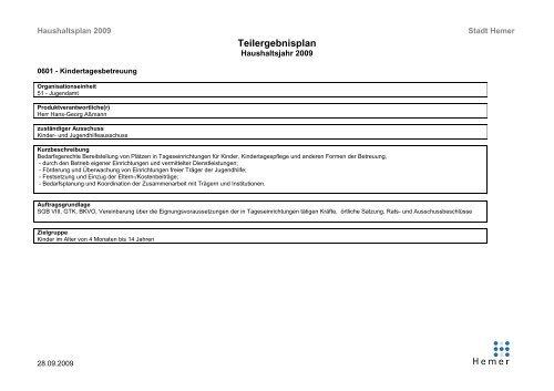 Teilergebnisplan - Produkt - 0601 - Kindertagesbetreuung - Hemer