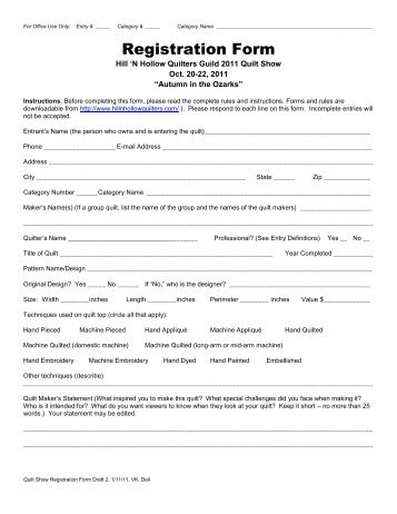 Registration Form - Hill 'N Hollow Quilters Guild