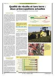 Qualité de récolte et tare terre : deux préoccupations actuelles