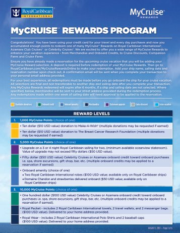 MyCRUISESM REWARDS PROGRAM - Royal Caribbean ...